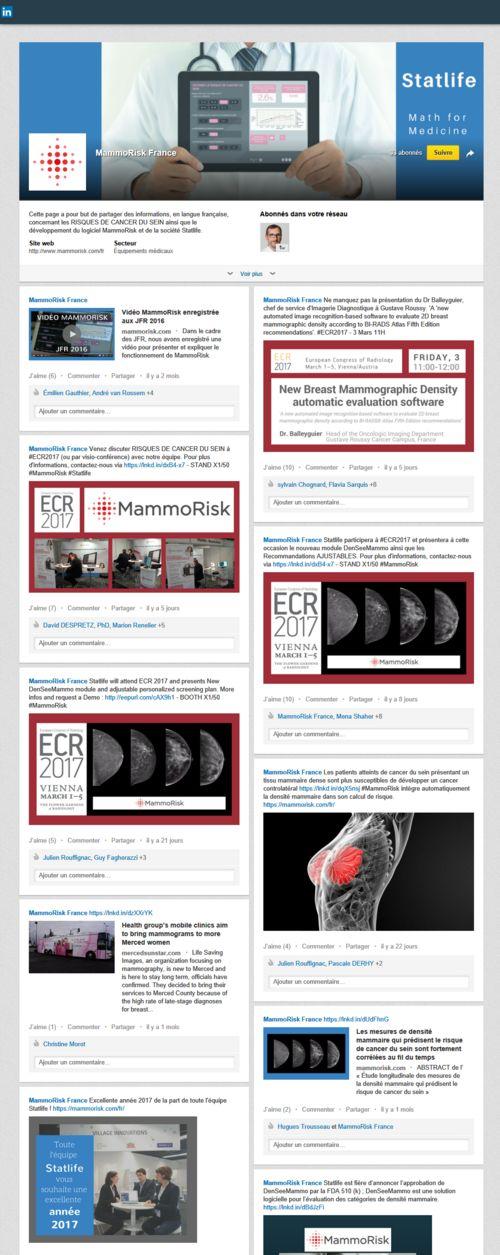 Page LinkedIn MammoRisk réalisée par Hugues Trousseau